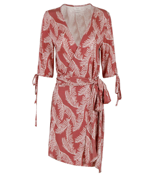 Èze Wrap Dress- Red Leaf Print