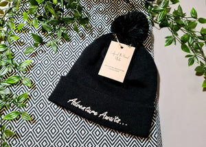 Pom Pom Beanie Hat - Adventure Awaits...