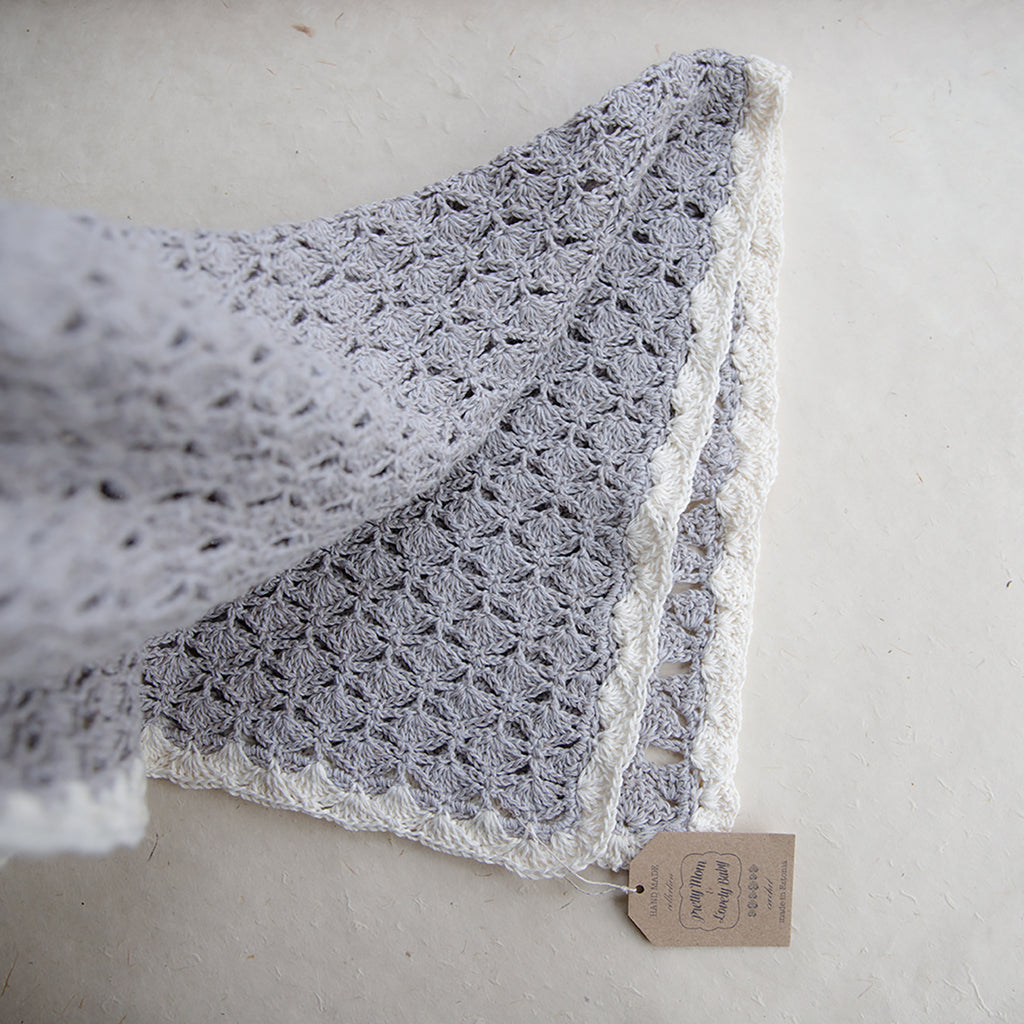 Hand Crochet Baby Blanket Handmade From Cotton And Linen Organic Yarn