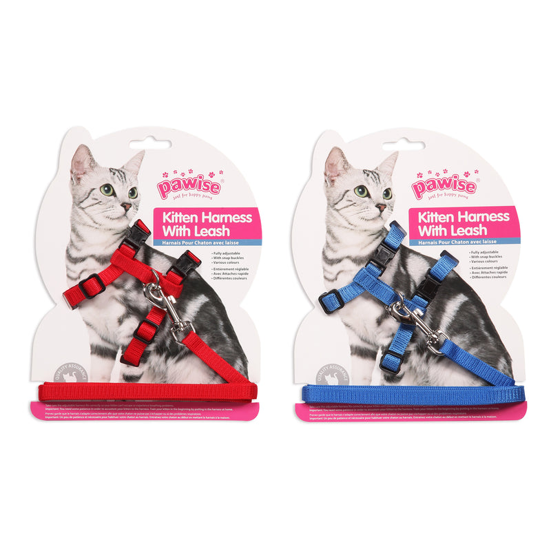 Pawise Kitten Harness  Red/Blue M