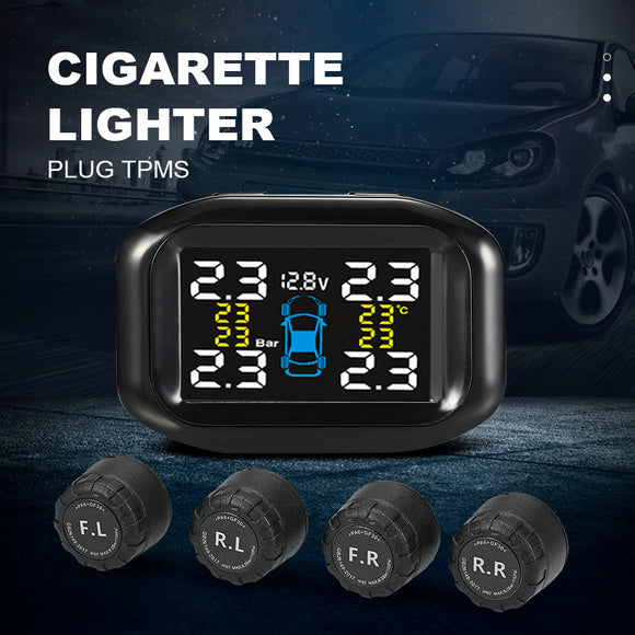 D9 Tire Pressure Monitoring System Cigarette Lighter Plug TPMS LCD Display 4 External Sensors - Oz-Onestop Wholesales