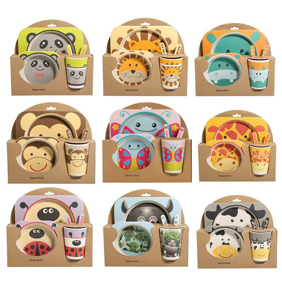 5pcs/set Children Baby Bamboo Fiber Tableware Baby Tableware Set Cartoon Animal - Oz-Onestop Wholesales