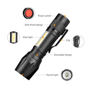 COB LED Flashlight Super Bright Waterproof Handheld Flashlights Torch - Oz-Onestop Wholesales