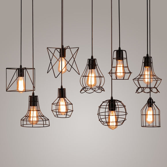 Wrought iron pendant lights Vintage E27 85 265V simple style fashion - Oz-Onestop Wholesales