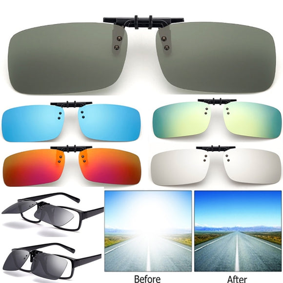 Cool Polarized Mirrored UV400 Lens Clips On Sunglasses Driving Night Vision Lens - Oz-Onestop Wholesales