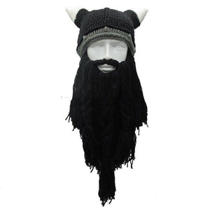 Funny Cosplay Men Knitted Viking Beard Horn Hat Ski - Oz-Onestop Wholesales