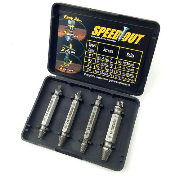 4 pcs / set Screw Extractor Set drill out easy to Remove Screw broken Speedout Set, hard - Oz-Onestop Wholesales, specialising in Consumer products, camera lens, sports, gadgets, electronics, security alarm & CCTV system solutions for home, office, domestic, commercial, and retails.