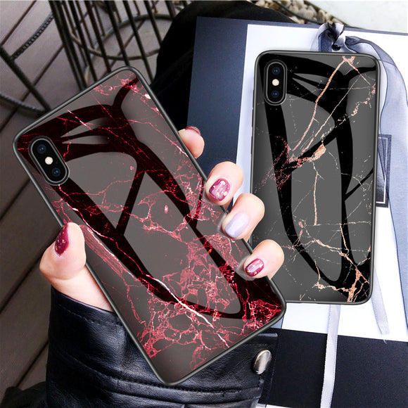Luxury Marble Phone Case for iPhone X Xs Max Glass PC pigeon Back Cover Silicone - Oz-Onestop Wholesales