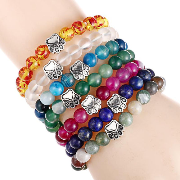 Dog Hand Paw 8mm Natural Stone Bead Yoga Bracelet - Oz-Onestop Wholesales