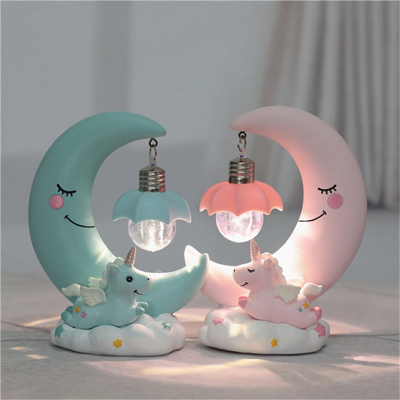 LED Night Light resin Moon Unicorn Cartoon Baby Nursery Lamp Breathing - Oz-Onestop Wholesales