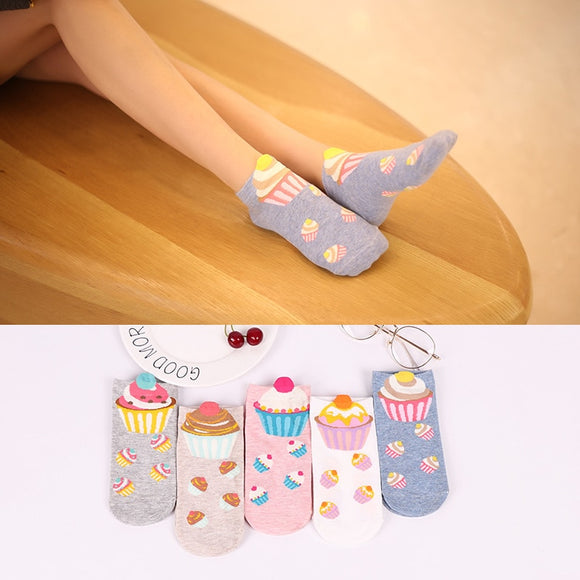 5 pairs Women cotton socks cupcake Short Ankle Socks Cute Kawaii Cream Fairy - Oz-Onestop Wholesales