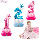 Blue Pink Number Balloon Happy Birthday Balloon 1st Birthday Party Decoration - Oz-Onestop Wholesales