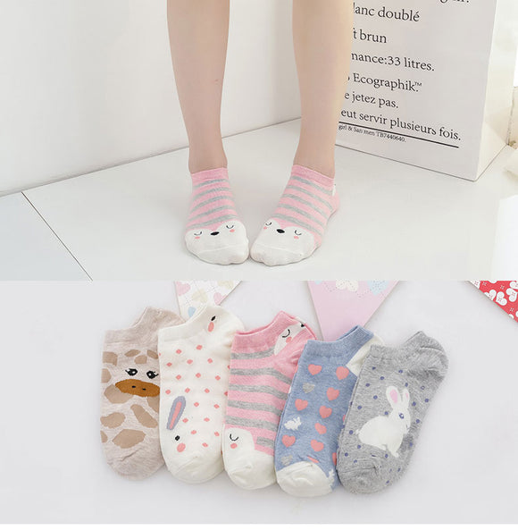 5 pairs Women's Short Socks color Female Low Cut Ankle Sock Summer Spring - Oz-Onestop Wholesales