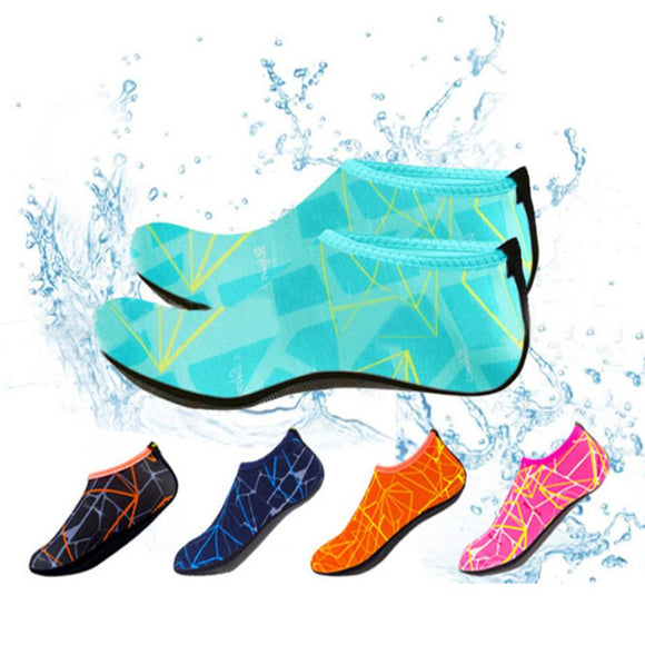 Men Woman Barefoot Skin Sock Striped Shoes Beach Pool Water Socks GYM Aqua - Oz-Onestop Wholesales