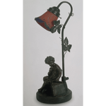 Marchand CUPID ARTIST AND SMALL LEAF TABLE LAMP - crystal-palace-lighting