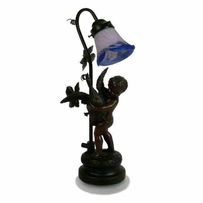 Marchand Art de France Boy Holding Goose Table Lamp in Antique Bronze - Crystal Palace Lighting