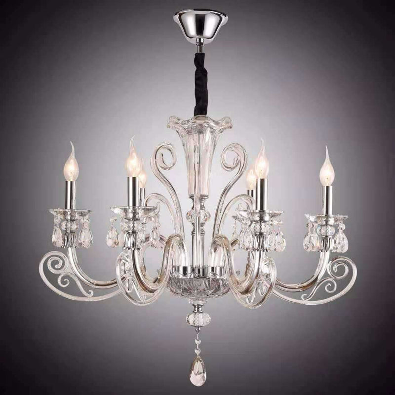 Marchand Catriona 6 Light Crystal Chandelier in Chrome with Clear Crystals - crystal-palace-lighting
