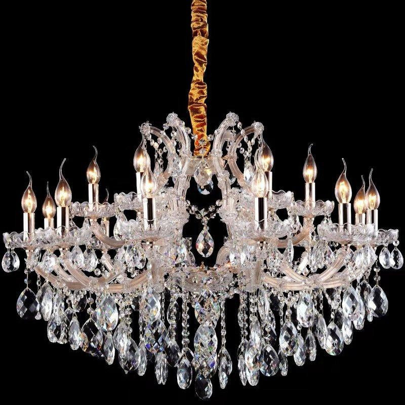 Olivia 18 Light Crystal Chandelier in Gold and Clear - crystal-palace-lighting