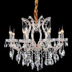 Marchand Charlotte 8 Light Crystal Chandelier in Gold with Clear Crystals - Crystal Palace Lighting