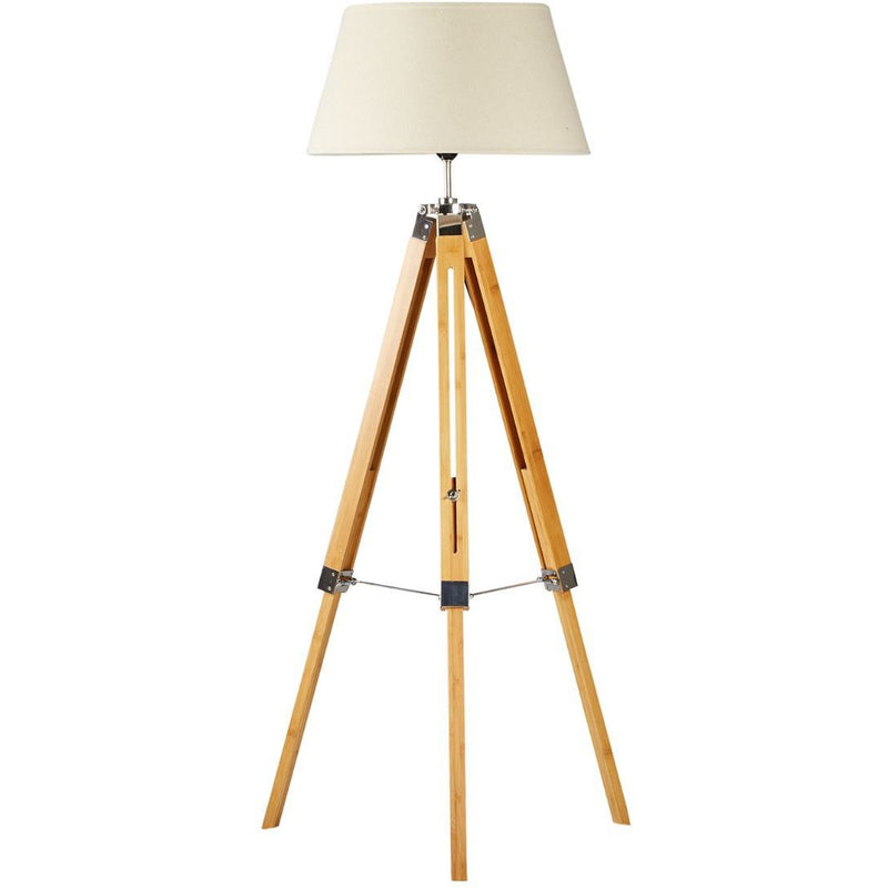 Tripod Floor Lamp with Beige Linen Shade - Crystal Palace Lighting