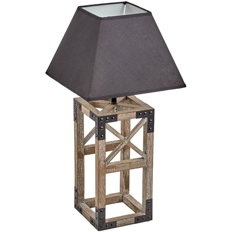 Square Table Lamp with Black Shade - Crystal Palace Lighting