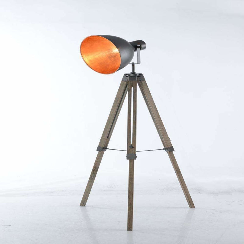 Large Tripod Floor Lamp with 30 CM Steel Grey Bowl Shade with Gold Inside - Crystal Palace Lighting