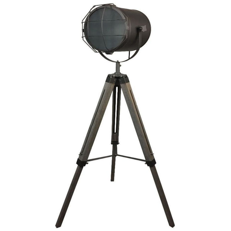Tripod Floor Lamp with Matte Grey Lamp Head and Mesh - Crystal Palace Lighting