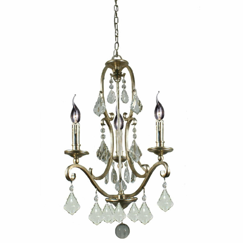 Angelique 3 Light Chandelier in Gold and Antique Silver with Clear Crystals - Crystal Palace Lighting