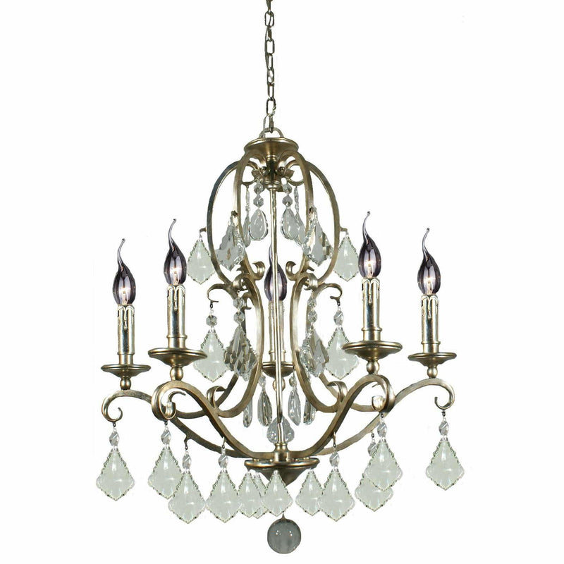Angelique 5 Light Chandelier in Gold and Antique Silver with Clear Crystals - Crystal Palace Lighting