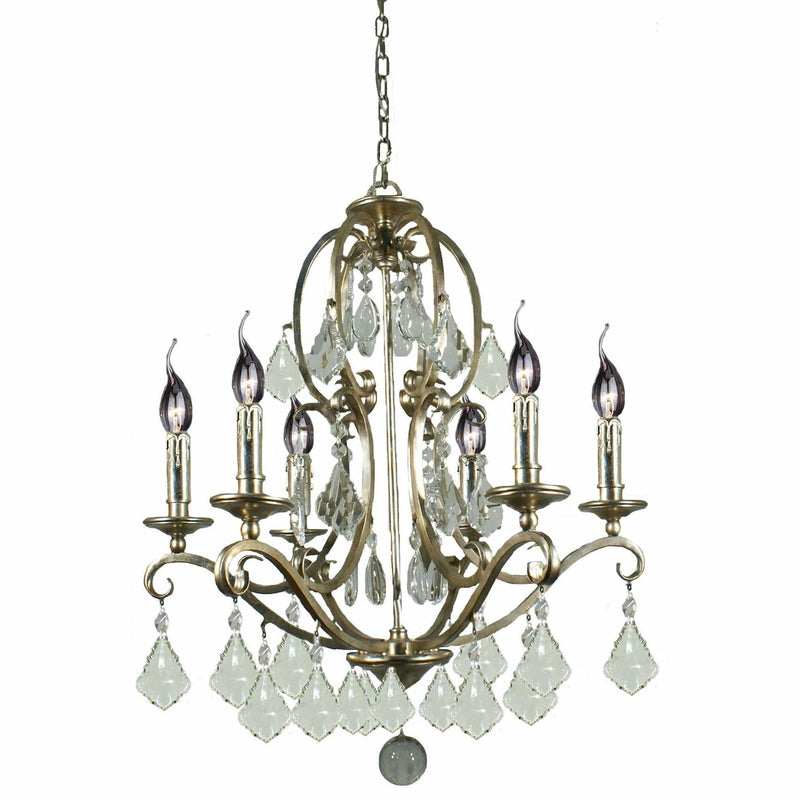 Angelique 6 Light Chandelier in Gold and Antique Silver with Clear Crystals - Crystal Palace Lighting