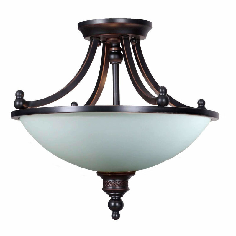 Arizona 3 Light Single Shade Semi Flush Pendant in Dark Bronze - Crystal Palace Lighting