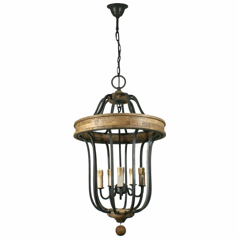 Arterious 5 Light Lantern, Wrought Iron and Wood - Crystal Palace Lighting