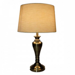 Antique Brass Touch Lamp With Gold Shade - Crystal Palace Lighting