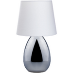 Chrome Touch Lamp With White Shade - Crystal Palace Lighting