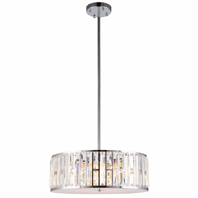 Bellagio 5 Light Pendant with Rod Set in Chrome with Clear Crystals - Crystal Palace Lighting