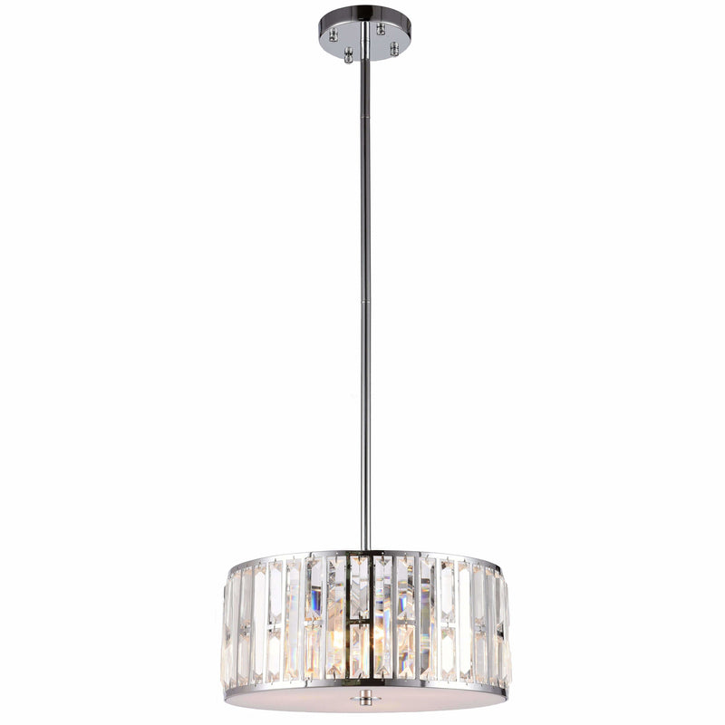 Bellagio 3 Light Pendant with Rod Set in Chrome with Clear Crystals - Crystal Palace Lighting