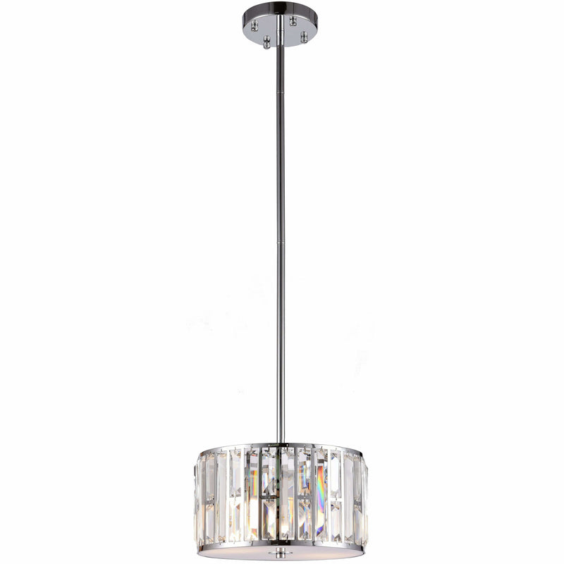 Bellagio 2 Light Pendant with Rod Set in Chrome Silver with Clear Crystals - Crystal Palace Lighting