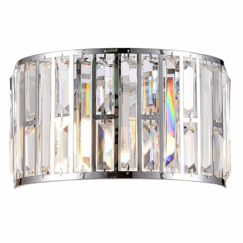 Bellagio 2 Light Wall Light in Chrome with Clear Crystals - Crystal Palace Lighting