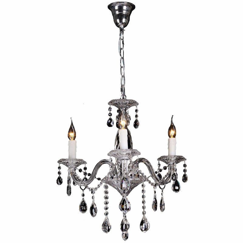 Berlin 3 Light Chandelier in Chrome Silver with Clear Crystals - Crystal Palace Lighting
