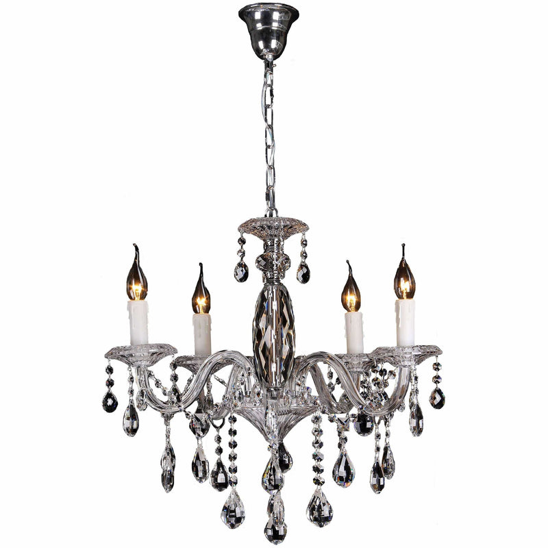 Berlin 5 Light Chandelier in Chrome Silver with Clear Crystals - Crystal Palace Lighting