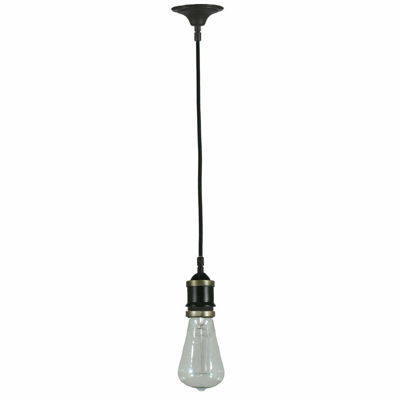 Buster Recessed Cloth Cord Pendant in Bronze - Crystal Palace Lighting