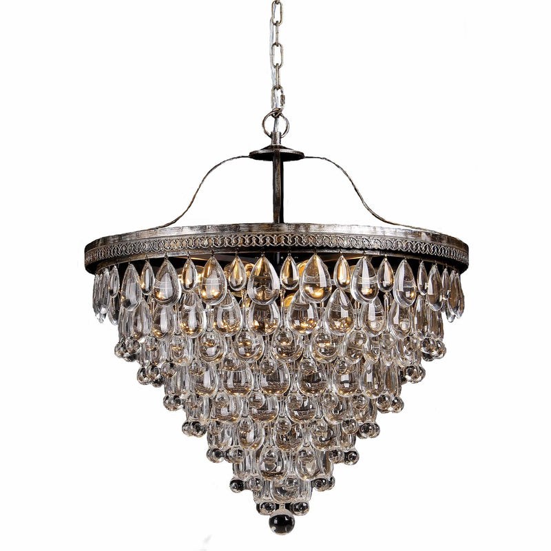 Cascade 10 Light Tiered Chandelier in Bronze with Clear Crystals - Crystal Palace Lighting