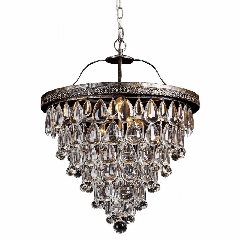 Cascade 6 Light Tiered Chandelier in Bronze with Clear Crystals - crystal-palace-lighting