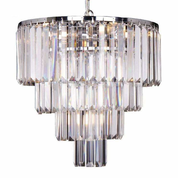 Celestial 4 Tier 5 Light Chandelier in Chrome with Clear Crystals - Crystal Palace Lighting