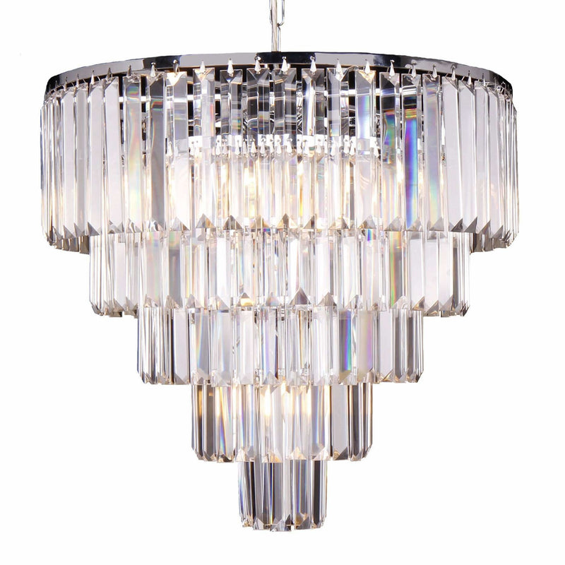 Celestial 5 Tier 10 Light Chandelier in Chrome with Clear Crystals - Crystal Palace Lighting