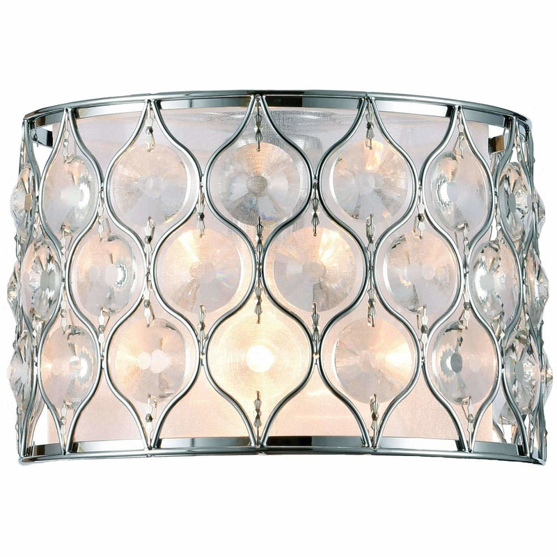 Champagne 2 Light Wall Light in Chrome with Clear Crystals - Crystal Palace Lighting