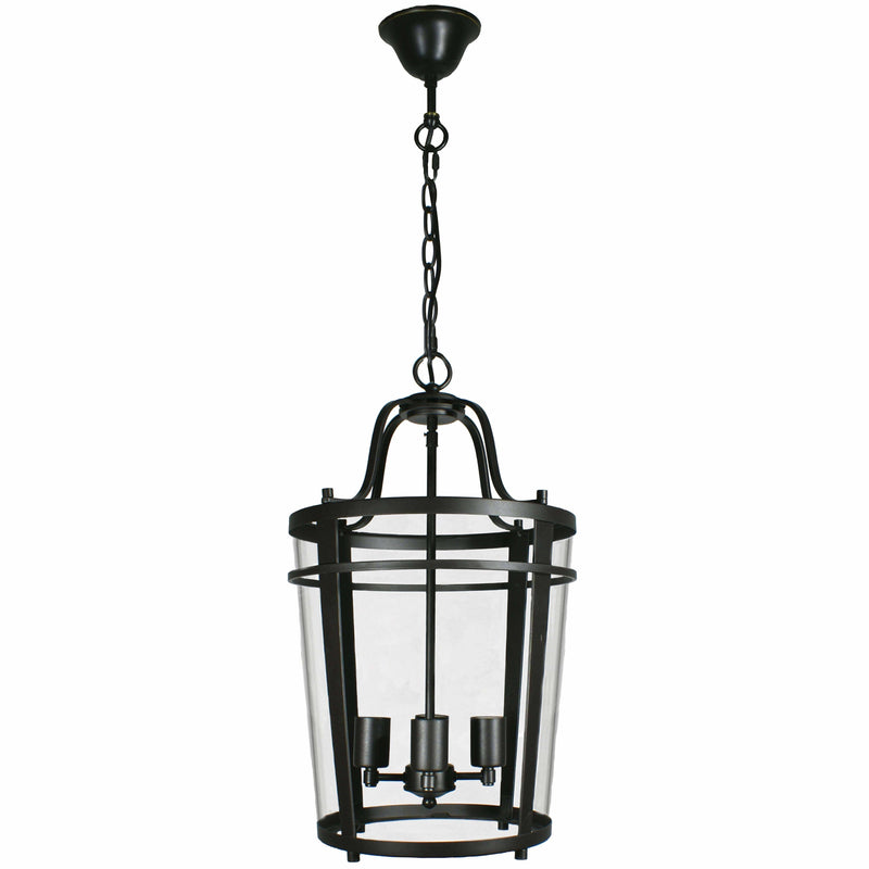 Chevron Lantern 4 Light Pendant in Bronze and Clear - Crystal Palace Lighting