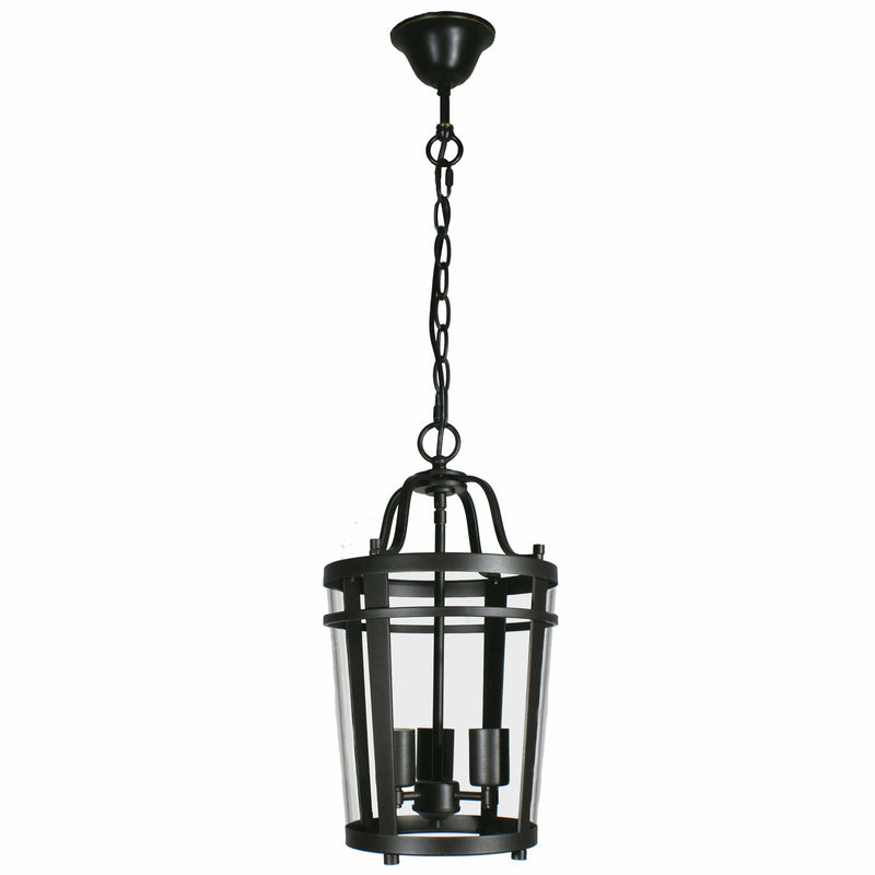 Chevron Lantern 3 Light Pendant in Bronze and Clear - Crystal Palace Lighting