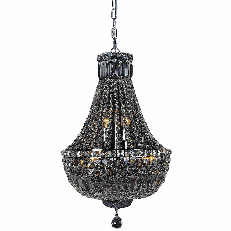 Classique 5 Light Crystal Basket Chandelier in Chrome and Clear - Crystal Palace Lighting