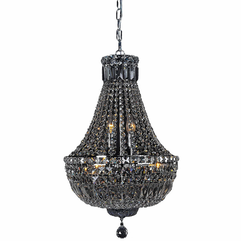 Classique 6 Light Basket Crystal Chandelier in Chrome and Clear - Crystal Palace Lighting